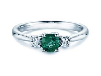 Smaragdring Shining Emerald in Weißgold