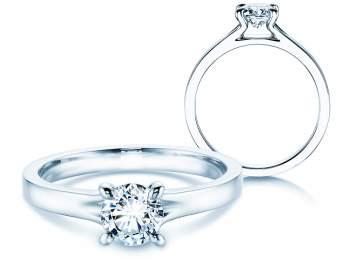 Verlobungsring Modern in 14K Weißgold mit Diamant 0,50ct H/SI