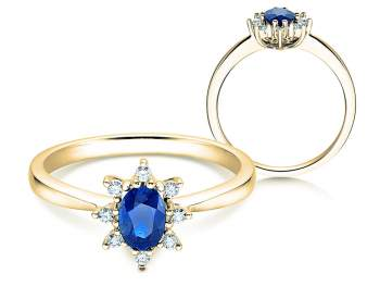 Saphirring Blue Star in 14K Gelbgold mit Diamanten 0,06ct 14 Karat (58,5% reines Gold)