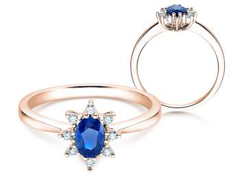 Saphirring Blue Star in 14K Roségold mit Diamanten 0,06ct 14 Karat (58,5% reines Gold)