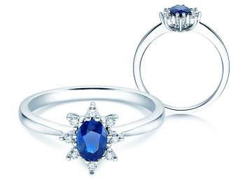 Saphirring Blue Star in 14K Weißgold mit Diamanten 0,06ct 14 Karat (58,5% reines Gold)