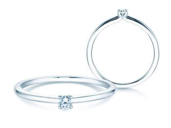 Verlobungsring Classic 4 in Silber mit Diamant 0,05ct G/SI