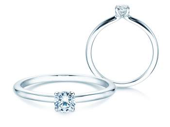 Verlobungsring Classic 4 in Silber mit Diamant