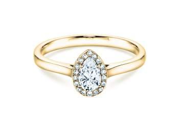 Verlobungsring Pear Shape in Gelbgold mit Diamant 0,50ct