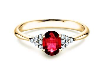 Rubinring Glory 1,00ct in Gelbgold mit Diamant 0,12ct