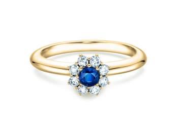 Saphirring Lovely in Gelbgold mit Saphir und Diamant 0,15