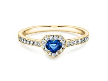 Saphirring Heart in Gelbgold mit Saphir und Diamant 0,34