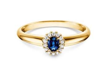 Saphir-Verlobungsring Jolie in Gelbgold mit Diamanten 0,06ct