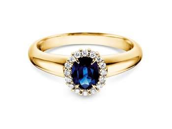Saphir-Verlobungsring Windsor in Gelbgold