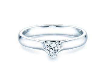 Verlobungsring Heart in Platin mit Diamant 0,25ct