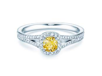 Fancy Yellow Cushion in Platin mit Diamant 0,90ct