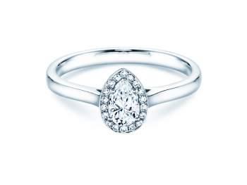 Verlobungsring Pear Shape in Platin mit Diamant 0,50ct