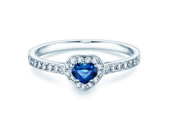 Saphirring Heart in Platin mit Saphir und Diamant 0,34