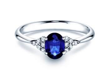 Saphirring Glory 1,00ct in Platin mit Diamant 0,12ct