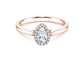 Verlobungsring Pear Shape in Roségold mit Diamant 0,50ct