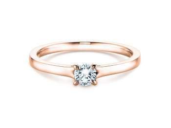 Verlobungsring Modern in 14K Roségold mit Diamant 0,75ct H/SI