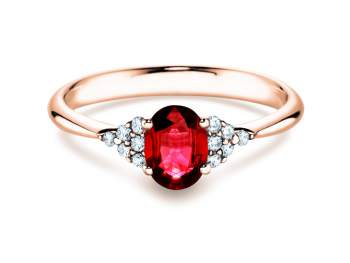 Rubinring Glory 1,00ct in Roségold mit Diamant 0,12ct