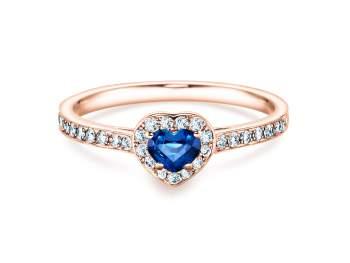 Saphirring Heart in Roségold mit Saphir und Diamant 0,34