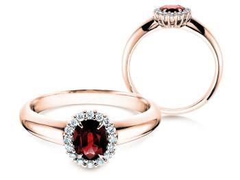 Rubinring Windsor in Roségold mit Diamanten 0,12ct