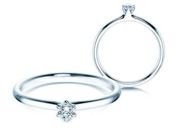 Verlobungsring Classic in Silber mit Diamant 0,10ct G/SI