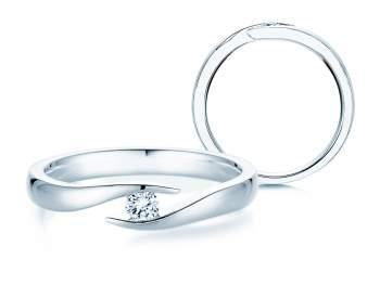 Verlobungsring Twist in Silber und Diamant 0,10ct G/SI