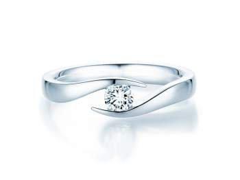 Verlobungsring Twist in Silber und Diamant 0,25ct H/SI