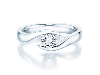 Verlobungsring Twist in Silber mit Diamant 0,50ct H/SI