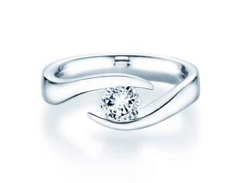 Verlobungsring Twist in Silber mit Diamant 0,75ct H/SI