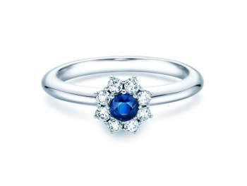 Saphirring Lovely in Silber mit Saphir und Diamant