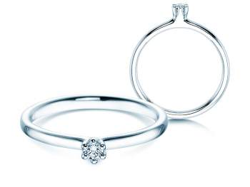 Verlobungsring Classic in 14K Weißgold mit Diamant 0,05ct G/SI