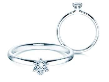 Verlobungsring Classic in 14K Weißgold mit Diamant 0,25ct G/SI