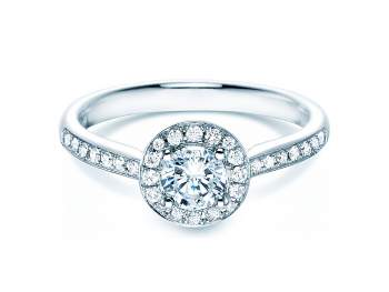 Verlobungsring Halo Classic in 18K Weissgold mit Diamant 0,78ct