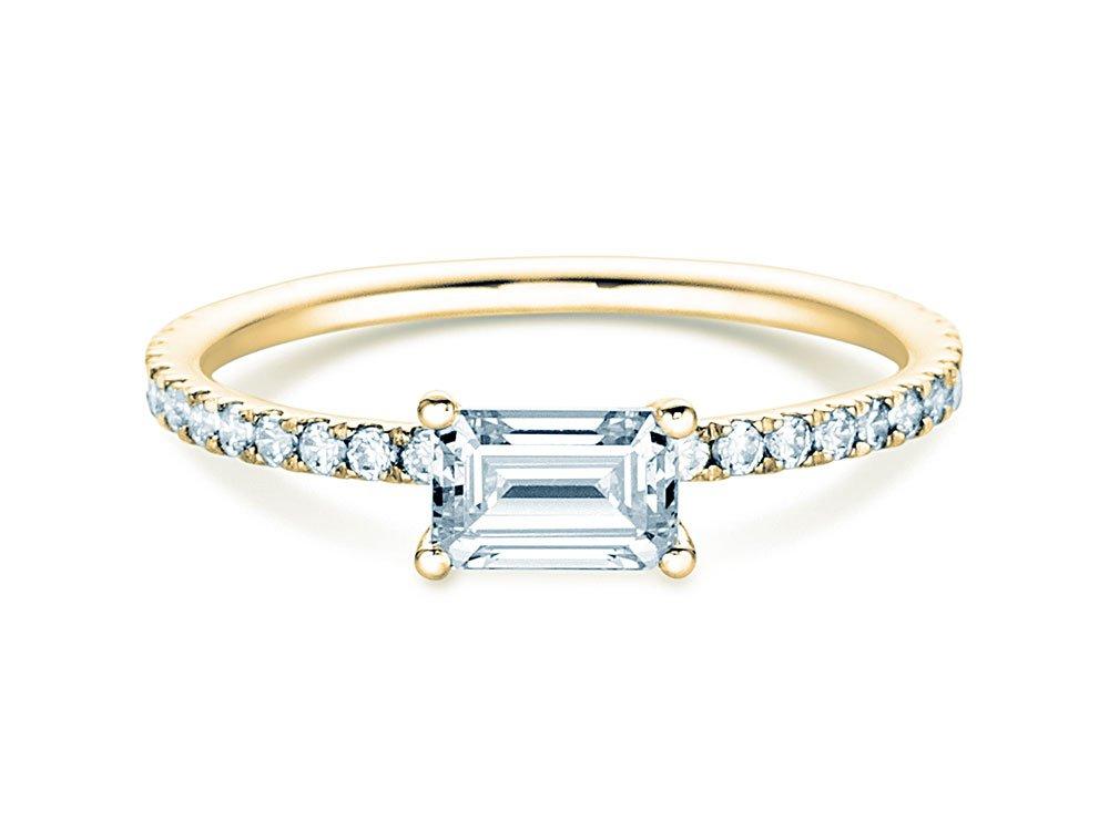 Verlobungsring Emerald-Cut in 18K Gelbgold mit Diamant 0,80ct bei JUWELIER.de