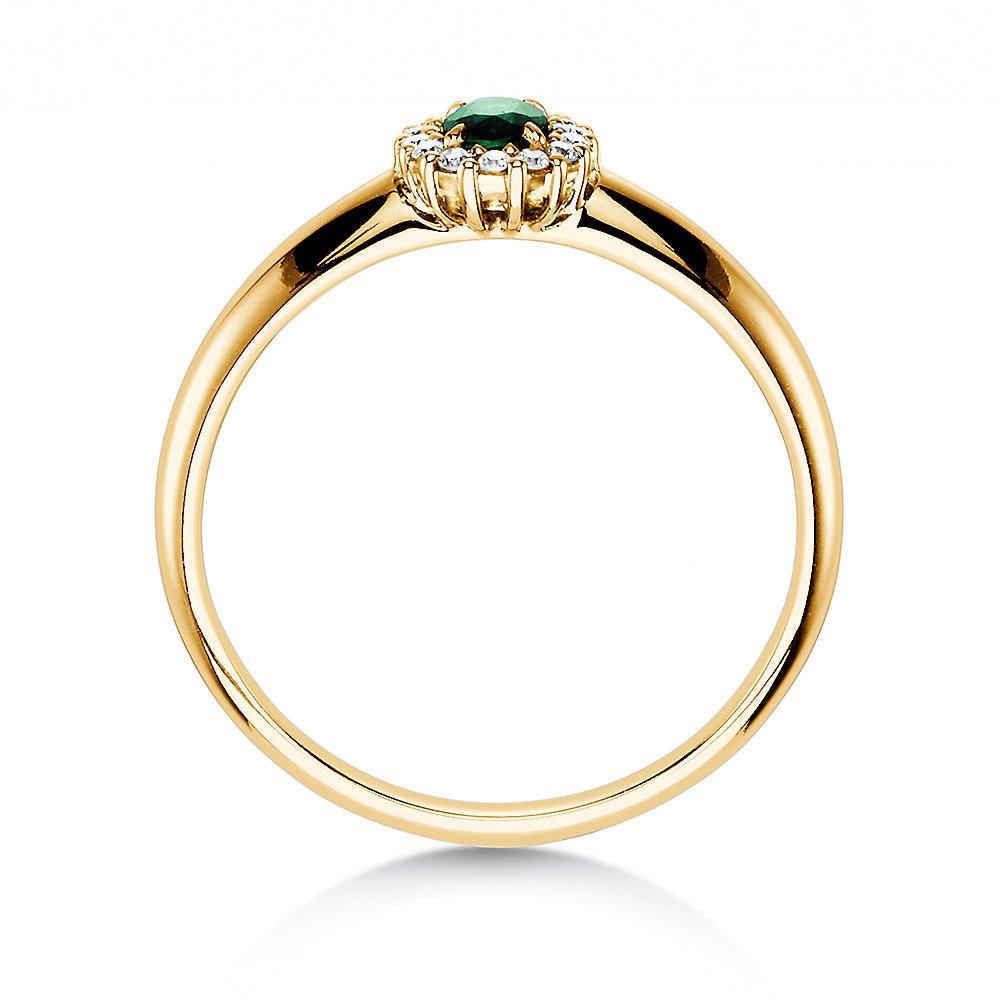 Smaragdring Jolie in 14K Gelbgold mit Diamanten 0,06ct bei JUWELIER.de