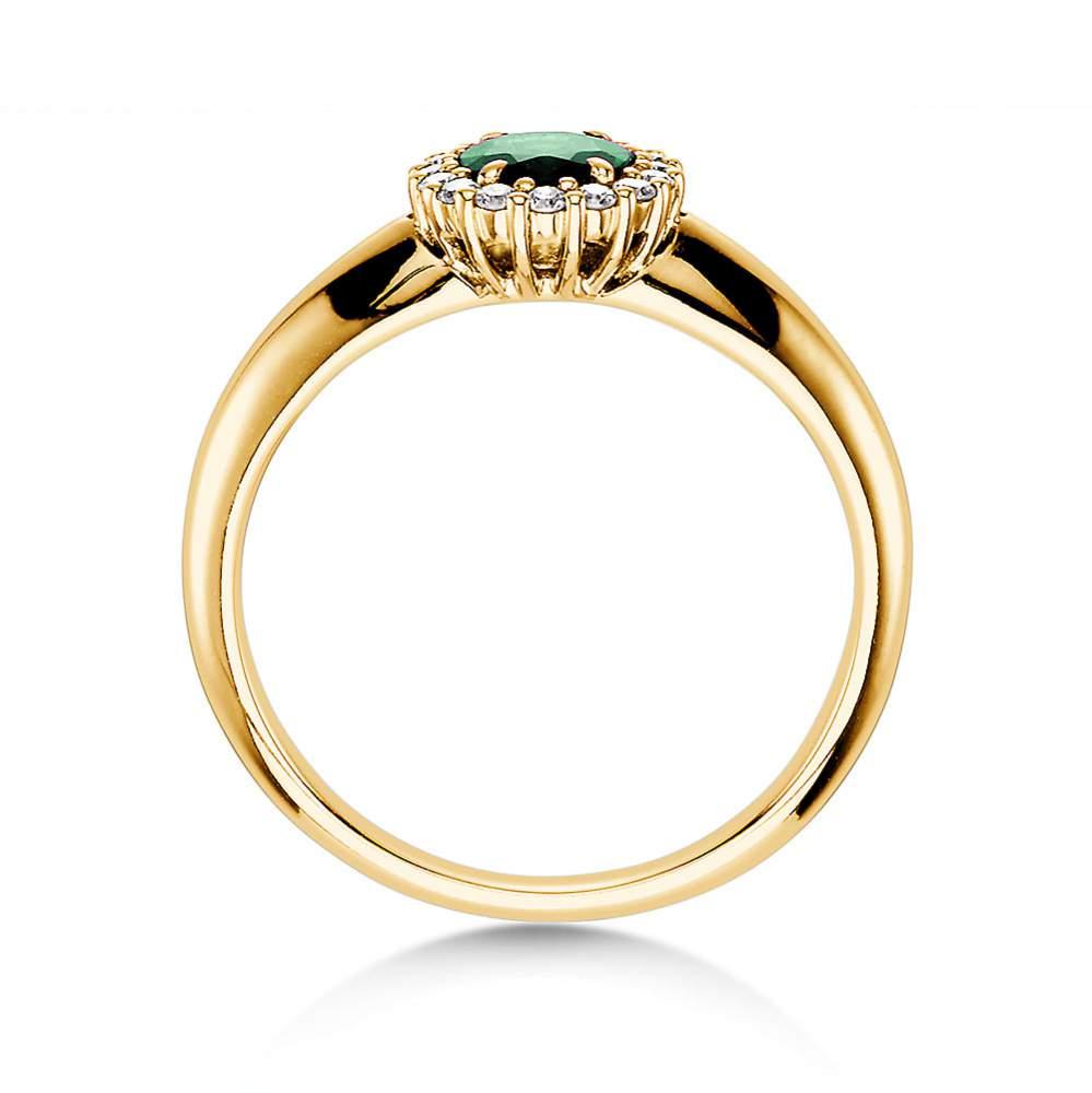 Smaragdring Windsor in 14K Gelbgold mit Diamanten 0,12ct bei JUWELIER.de