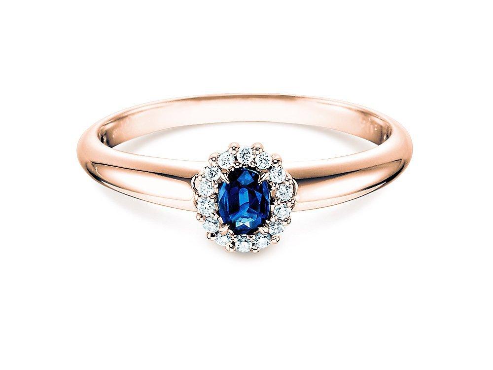 Saphir-Verlobungsring Jolie in Roségold mit Diamanten 0,06ct bei JUWELIER.de