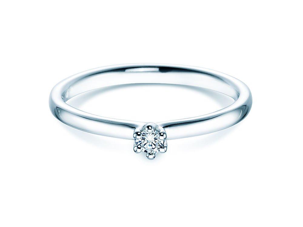 Verlobungsring Classic in Silber mit Diamant 0,05ct G/SI bei JUWELIER.de