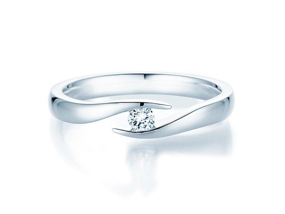 Verlobungsring Twist in Silber und Diamant 0,10ct G/SI bei JUWELIER.de