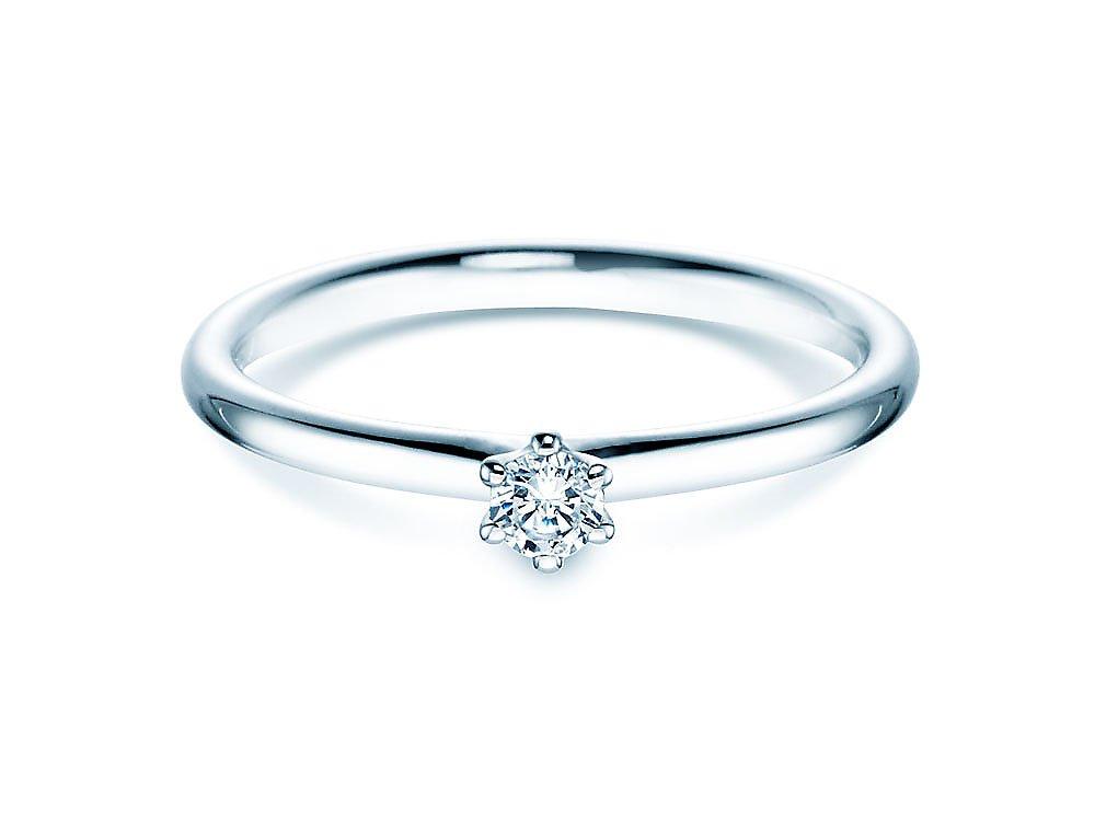 Verlobungsring Classic in 14K Weißgold mit Diamant 0,10ct G/SI bei JUWELIER.de
