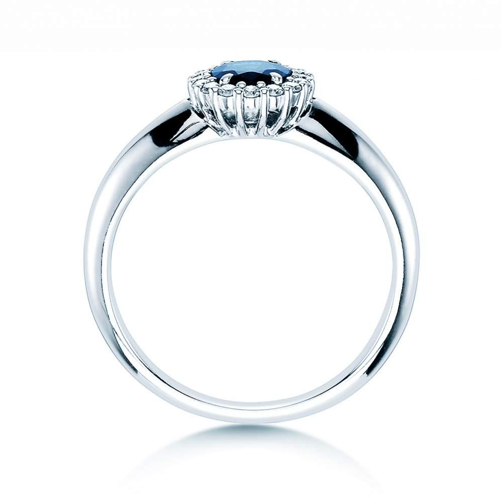 Saphir-Verlobungsring Windsor in 14K Weißgold mit Diamanten 0,12ct bei JUWELIER.de