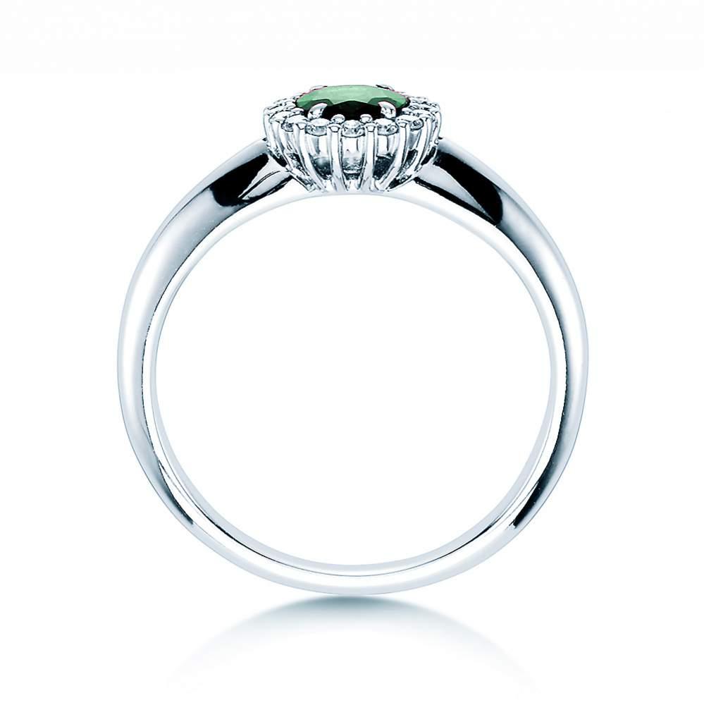 Smaragdring Windsor in 18K Weißgold mit Diamanten 0,12ct bei JUWELIER.de