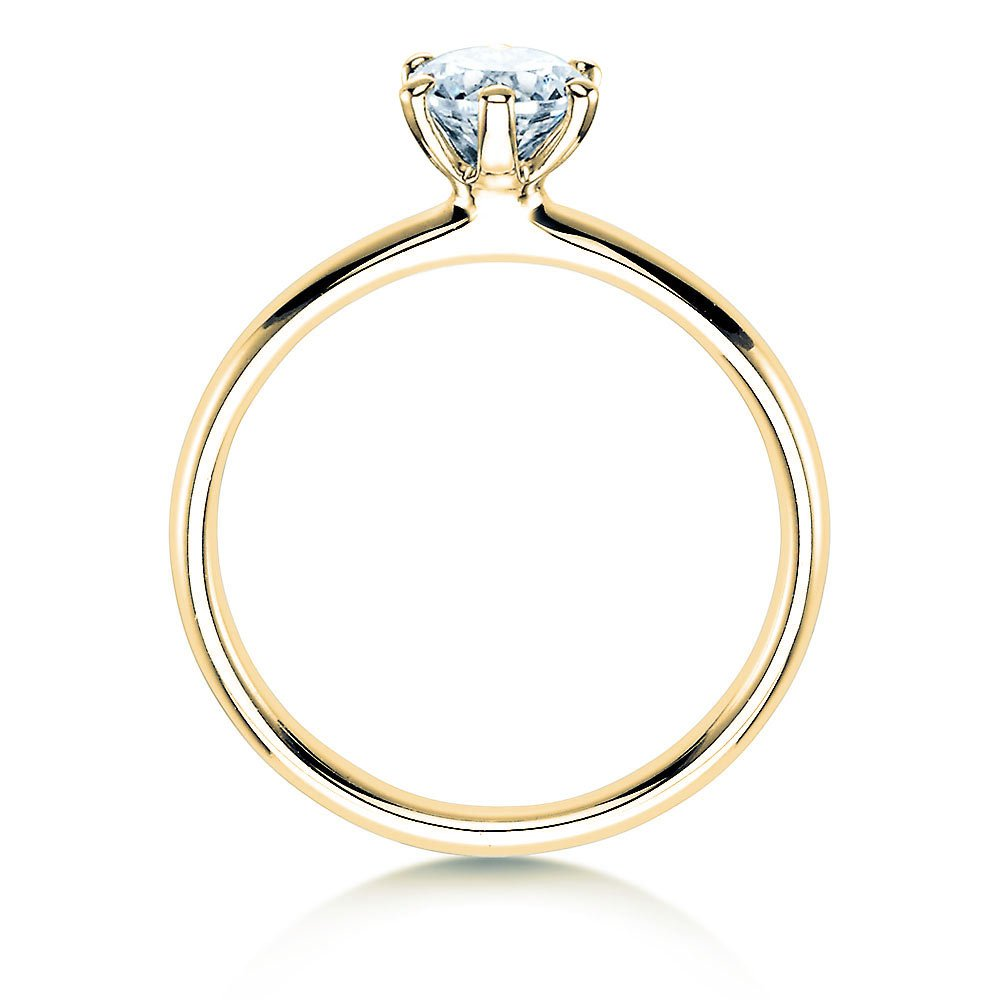Verlobungsring Classic in 18K Gelbgold mit Diamant 0,60ct H/SI Made in Germany