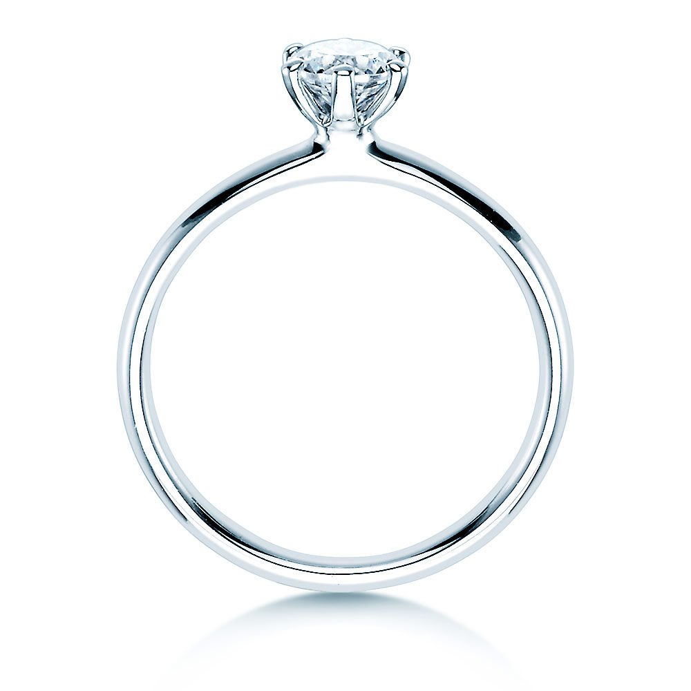 Verlobungsring Classic in 18K Weißgold mit Diamant 0,50ct H/SI Made in Germany