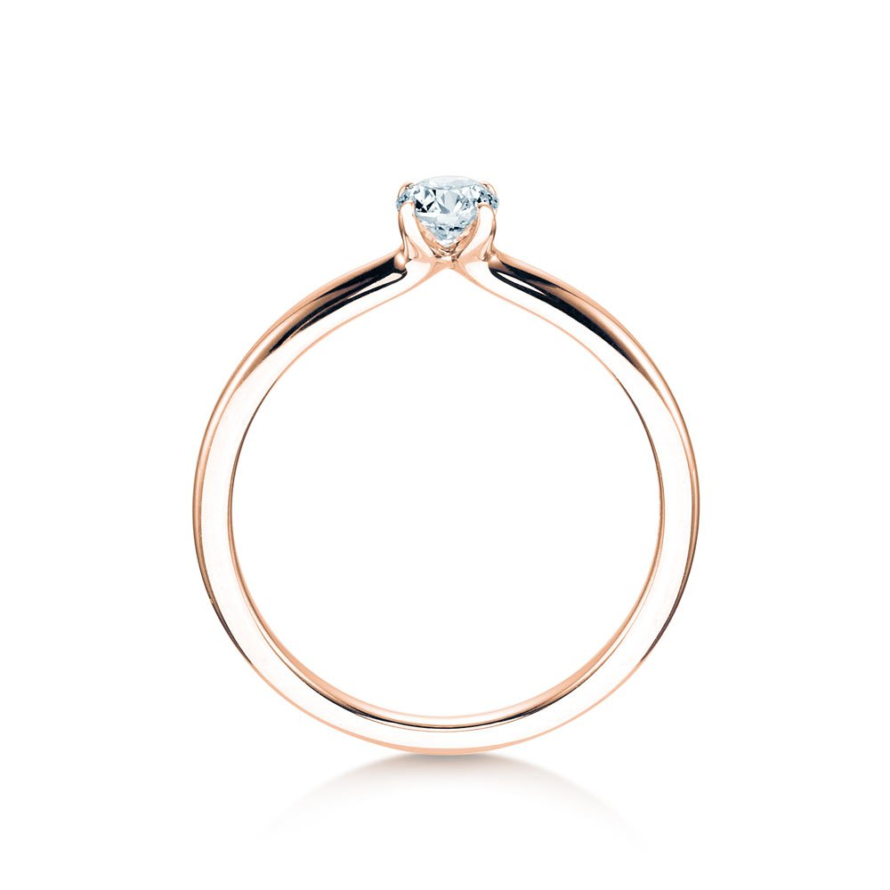 Verlobungsring Classic 4 in 14K Roségold mit Diamant 0,25ct G/SI Made in Germany