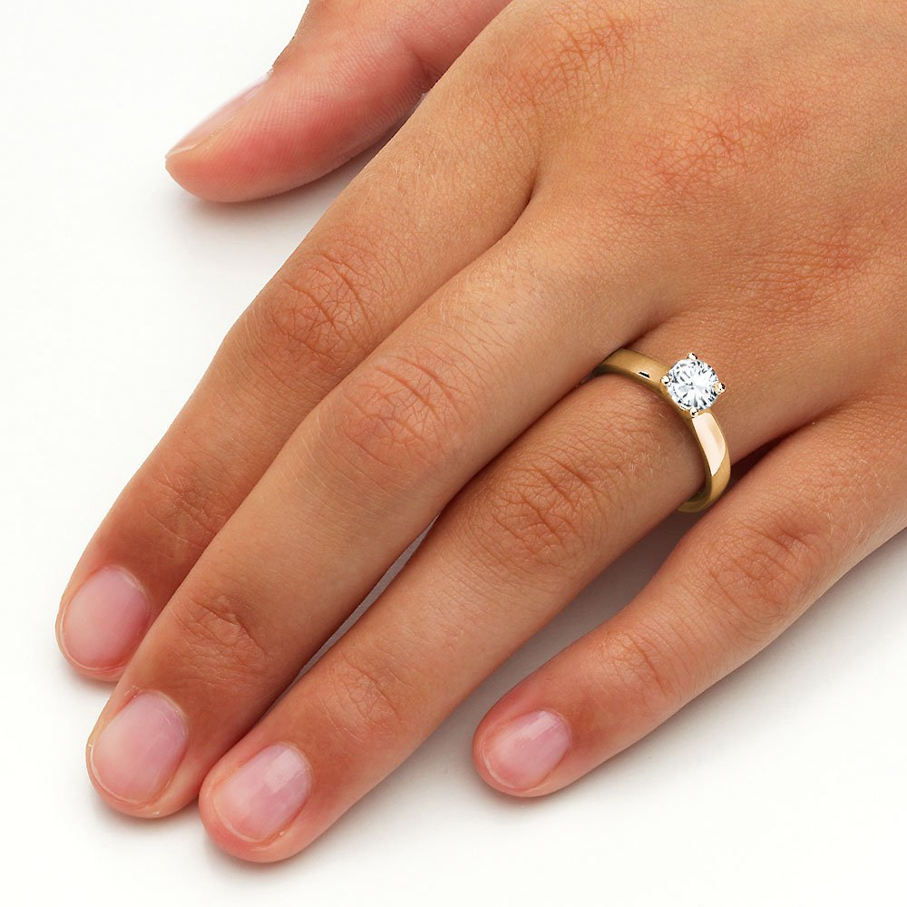 Verlobungsring Modern in 14K Gelbgold mit Diamant 0,75ct H/SI Made in Germany