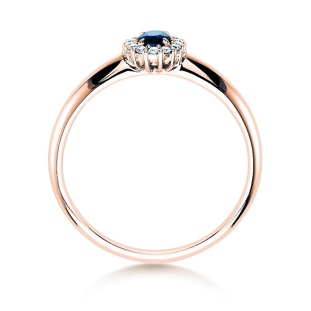 Saphir-Verlobungsring Jolie in Roségold mit Diamanten 0,06ct Made in Germany