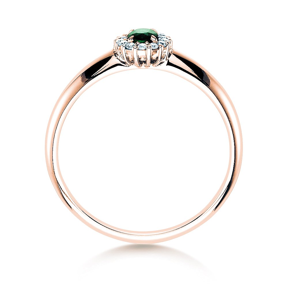 Smaragdring Jolie in 14K Roségold mit Diamanten 0,06ct Made in Germany