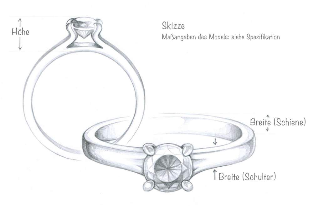 Verlobungsring Devotion in Silber mit Diamant 0,05ct H/SI Made in Germany