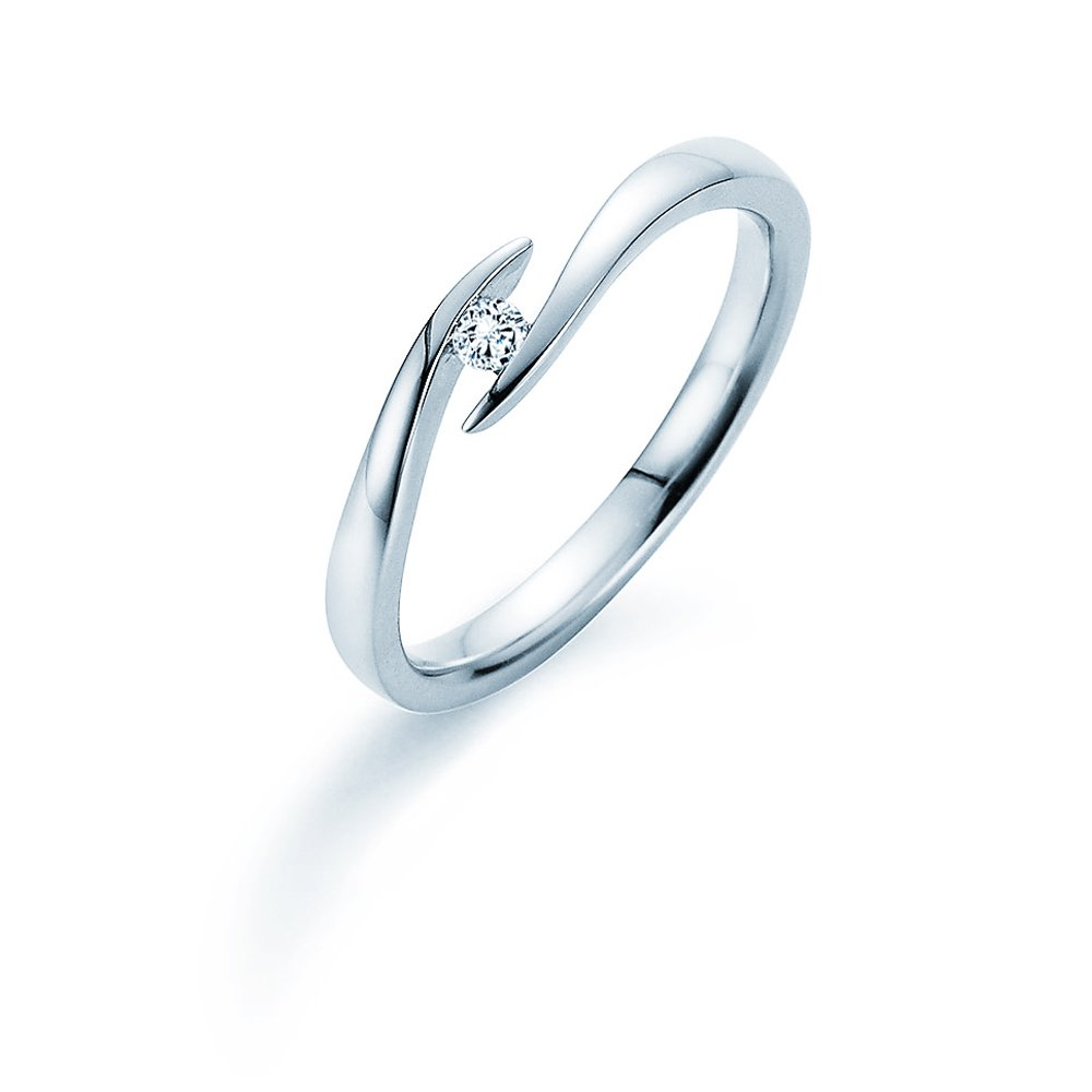 Verlobungsring Twist in Silber mit Diamant 0,05ct G/SI Made in Germany