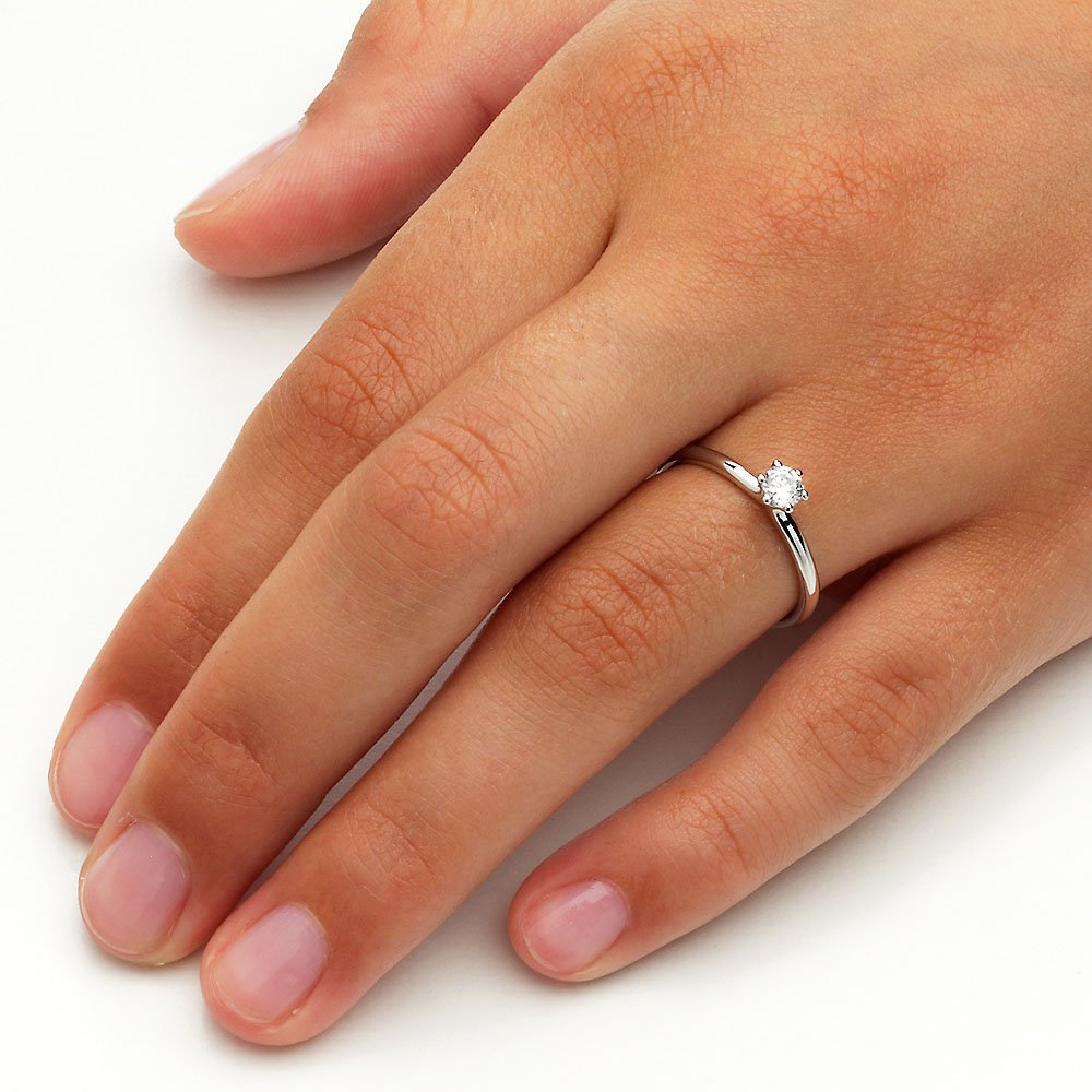 Verlobungsring Classic in Silber mit Diamant 0,25ct H/SI Made in Germany